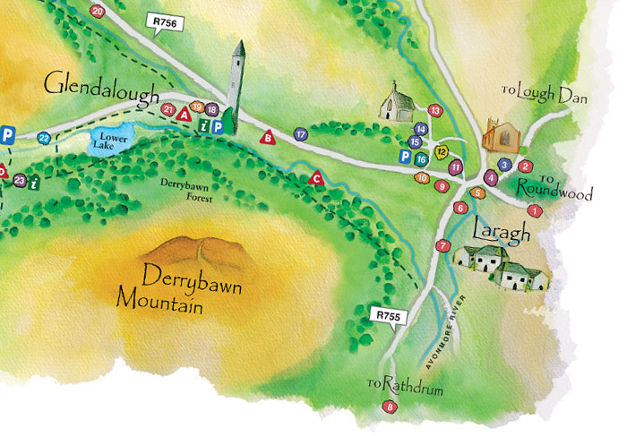 Glendalough WaterColour Map detail 2