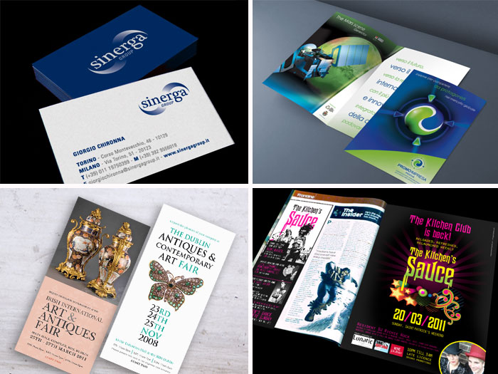 Services, Business Cards, Tickets, Magazines ad, Brochures
